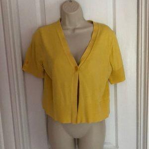 Yellow Short Sleeve Shrug - 1 Button Closure